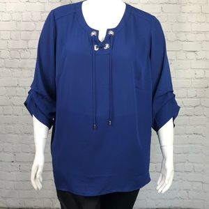 JM Collection Navy Long Sleeve Top Plus Size 3X